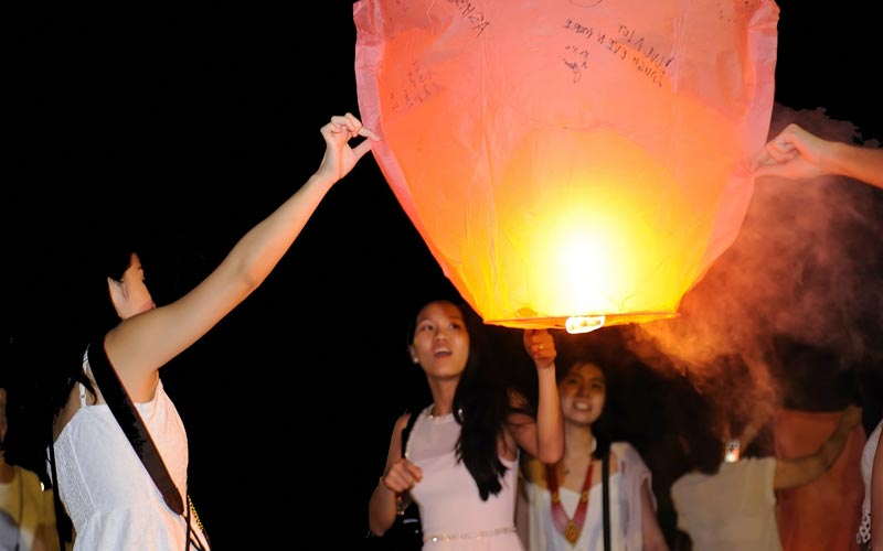 Wishing Sky Lantern at best resort in bintan
